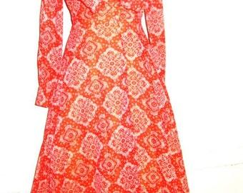 SALE Vintage 70's Boho Red Sheer Cotton Dress Handerchief Print