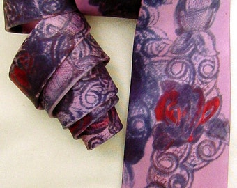silk necktie dyed painted Rose Tattoo men avant garde unique luxury wearable art wedding purple pink charcoal
