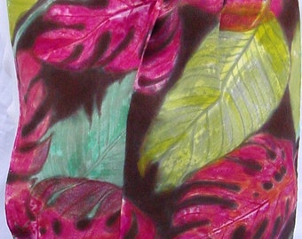 silk scarf long crepe green red Tropical banana philodendron unique hand painted wearable art women fashion