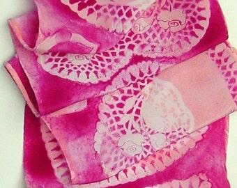 silk scarf Pink Heart long unique hand painted crepe luxury wearable art women SALE