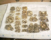 Large lot of Goldtone Retro Buttons 100 Or More In Lot Sewing Embellishment