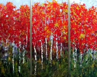 Aspen Birch Tree Triptych Original  Extra Large Acrylic Painting 40 w x 30  x 1-1/2 Gallery Canvas Commission Free Shipping