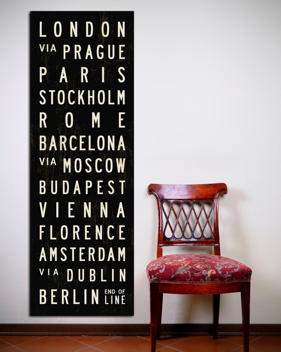 EUROPE Bus Scroll, Typography Poster, Canvas Subway Sign, European Tram Scroll, Black & White Roll Sign Print. 20 x 60