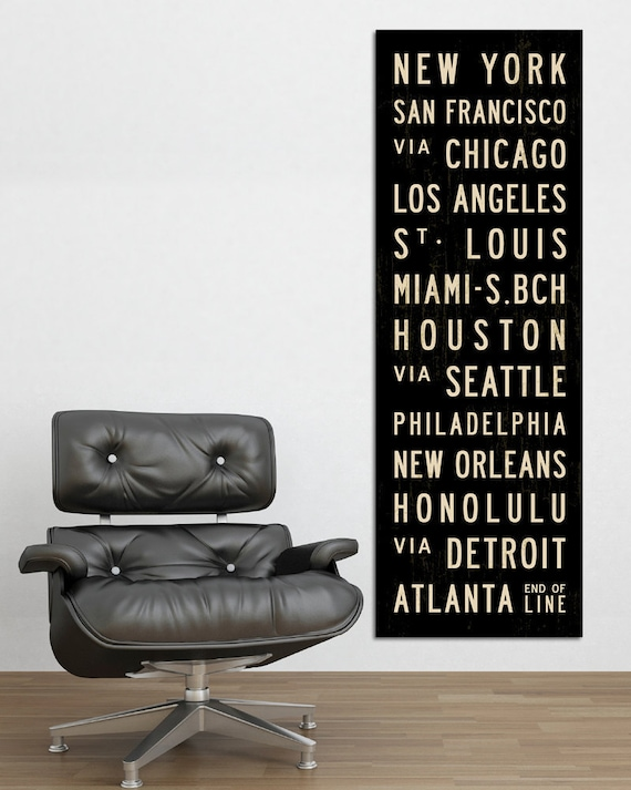 U.S. Art, Home Wall Decor, USA Poster, Subway Sign, Artwork For Home, Travel Art, Bus Scroll, Oversized Canvas Art, Industrial Wall Art.