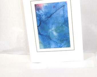 Hand painted silk card blue green leaf design special occassion card