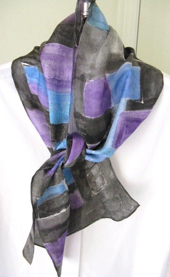 Hand painted silk scarf black purple blue design
