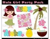 Hula Girl Graphic Clip Art Pack Scrapbooking Invitations Digital Digi Elements Hibiscus Flower Palm Tree Coconut Pineapple Hawaii
