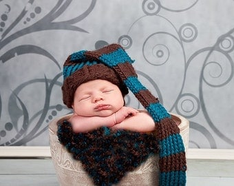 Knitted baby elf hat teal blue brown stripes pom pom boy 0 to 3 months