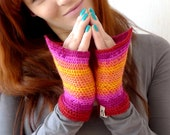 Crochet Fingerless Gloves, Fingerless Mittens, Wool Mitts, Wrist Warmers - Red Pink Yellow Ombre - Driving Gloves - Medieval Fairy
