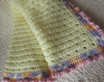 Crocheted Baby Blanket in Yellow with Multiple Pastel Colors on the Edge