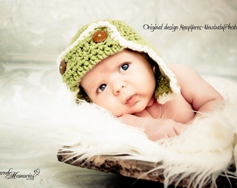 Flyer Beanie Hat Newborn Baby Photo prop in Green Photography Pilot Beanie Hat All Babies Infant Girl Boy Photo Shoot Available more COLORS