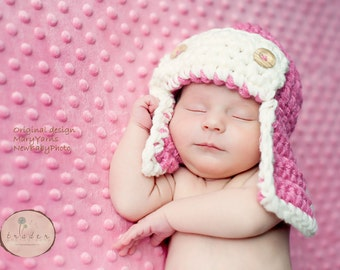 Aviator Hat & diaper cover Newborn Photo prop in PINK - Photography Baby Set - 2pcs