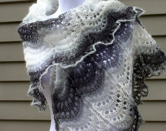 Knitted  Shawl, Lace, Tiangular, Black and White,  Waves  Pattern