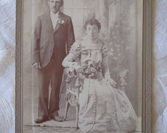 Victorian Wedding Cabinet Photograph of Happy Bride and Groom