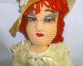 21 Inch Soft Sculpture Victorian Lady Doll, OOAK steampunk art nouveau crocheted vintage cottage chic needlecraft lifelike retro