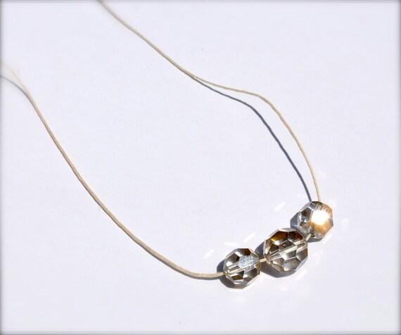 Crystal Infinity Necklace Recycled Beaded Hemp Jewelry