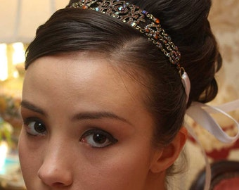Michelle - Large Vintage style Jeweled Ribbon Headband - Autumn