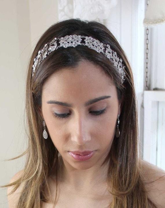 Antoinette - Rhinestone Ribbon Headband with a Vintage Flair