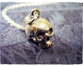 Silver Jawless Skull Necklace - Sterling Silver Jawless Skull Charm on a Delicate 18 Inch Sterling Silver Cable Chain