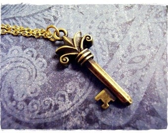 Gold Fleur Key Necklace - Antique Brass Pewter Fleur Key Charm on a Delicate Gold Plated Cable Chain or Charm Only