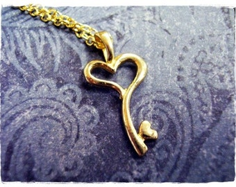 Gold Heart Key Necklace - Brass Heart Key Charm on a Delicate Gold Plated Cable Chain or Charm Only