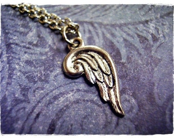 Silver Angel Wing Necklace - Antique Pewter Angel Wing Charm on a Delicate Silver Plated Cable Chain or Charm Only