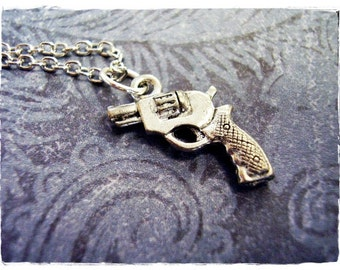 Tiny Silver Revolver Necklace - Antique Pewter Revolver Charm on a Delicate Silver Plated Cable Chain or Charm Only