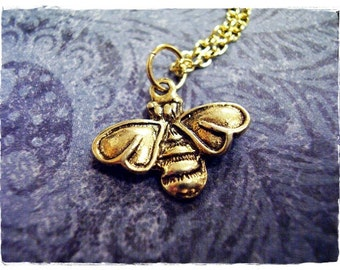 Gold Honeybee Necklace - Antique Gold Pewter Honeybee Charm on a Delicate Gold Plated Cable Chain or Charm Only