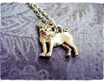 Silver Pug Necklace - Antique Pewter Pug Charm on a Delicate Silver Plated Cable Chain or Charm Only