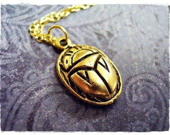 Gold Scarab Beetle Necklace - Antique Gold Pewter Scarab Beetle Charm on a Delicate Gold Plated Cable Chain or Charm Only