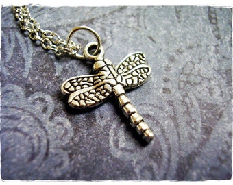 Small Silver Dragonfly Necklace - Antique Pewter Dragonfly Charm on a Delicate Silver Plated Cable Chain or Charm Only