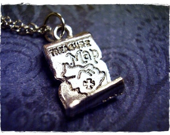 Silver Treasure Map Necklace - Silver Pewter Treasure Map Charm on a Delicate Silver Plated Cable Chain or Charm Only