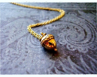 Tiny Gold Acorn Necklace - Bronze Acorn Charm on a Delicate 18 Inch 14KT Gold Filled Cable Chain