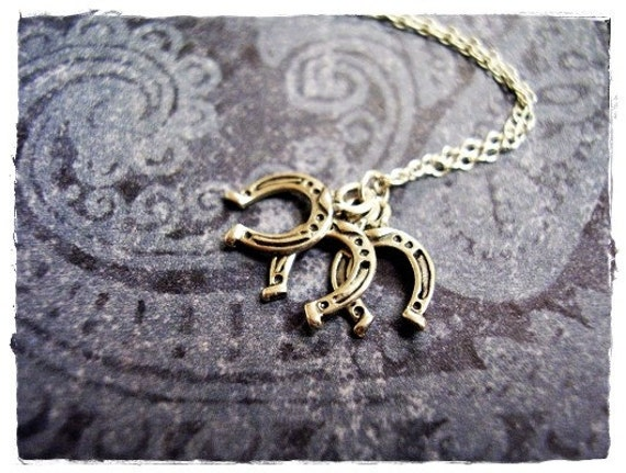 Tiny Silver Three Horseshoes Necklace - Sterling Silver Three Horseshoes Charms on a Delicate Sterling Silver Cable Chain or Charms Only