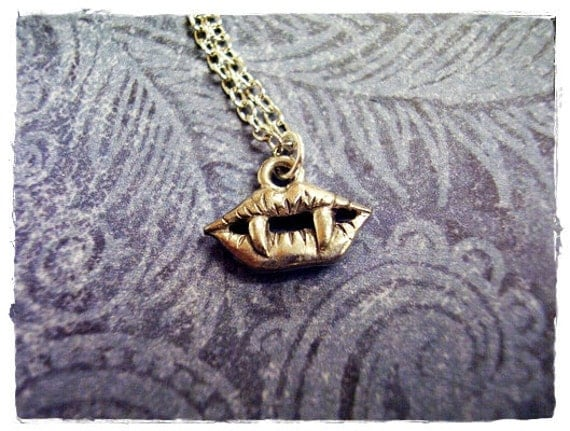 Tiny Vampire Fangs Necklace - Antique Pewter Vampire Fangs Charm on a Delicate Silver Plated Cable Chain or Charm Only