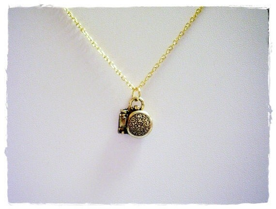 Gold Pocket Watch Necklace - Antique Gold Pewter Pocket Watch Charm on a Delicate Gold Plated Cable Chain or Charm Only