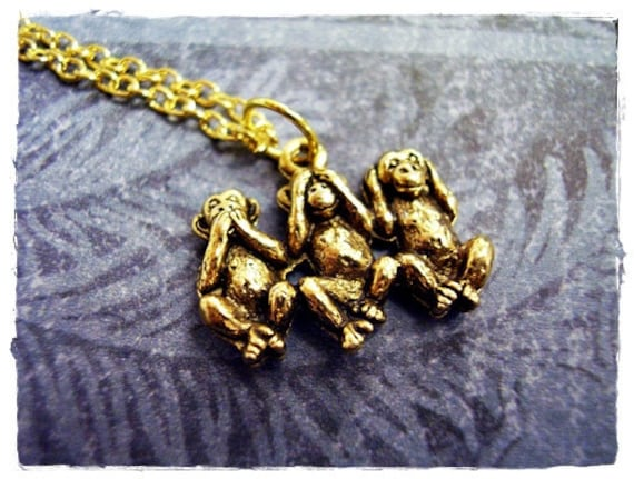 Gold No Evil Monkeys Necklace - Antique Gold Pewter No Evil Monkeys Charm on a Delicate 18 Inch Gold Plated Cable Chain