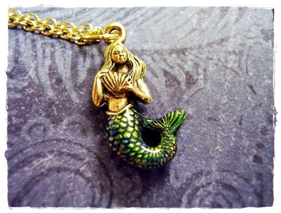 Blue Green Mermaid Necklace - Enameled Antique Gold Pewter Mermaid Charm on a Delicate Gold Plated Cable Chain or Charm Only