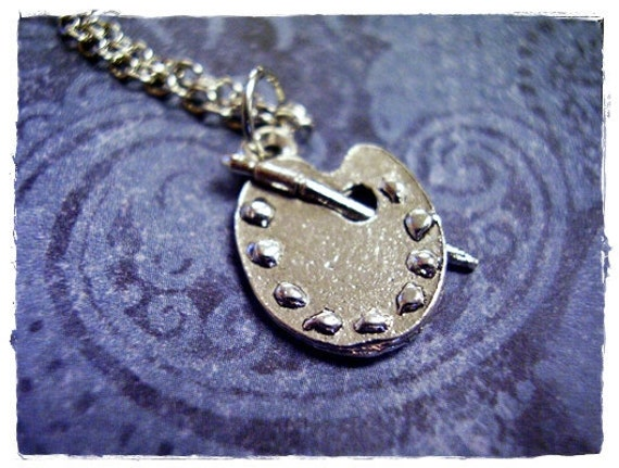 Silver Art Palette Necklace - Silver Pewter Art Palette Charm on a Delicate Silver Plated Cable Chain or Charm Only