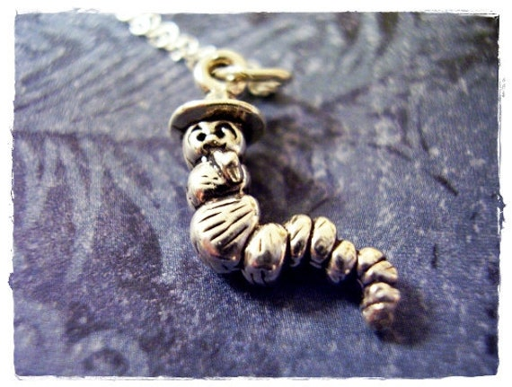 Silver Caterpillar Necklace - Sterling Silver Caterpillar Charm on a Delicate 18 Inch Sterling Silver Cable Chain