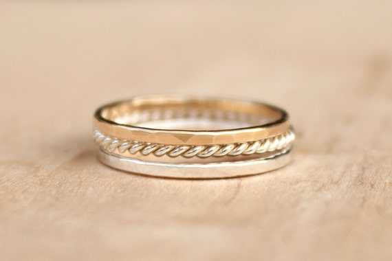 Solid gold Stacking Rings - Set of 3 - Sweet Mix, elegant casual, eternity rings, stackers, thin ring