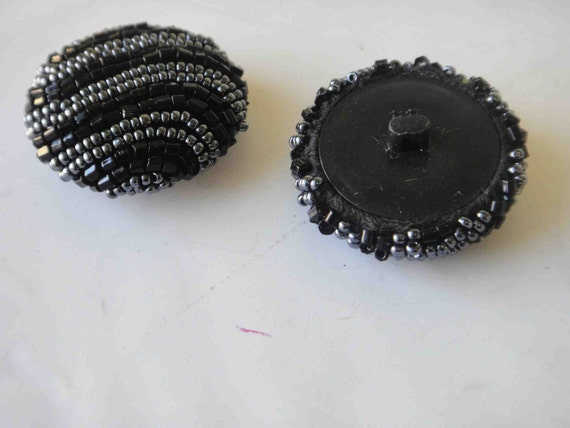 Very beautiful buttons with dark gray and black beats 2 pieces listing