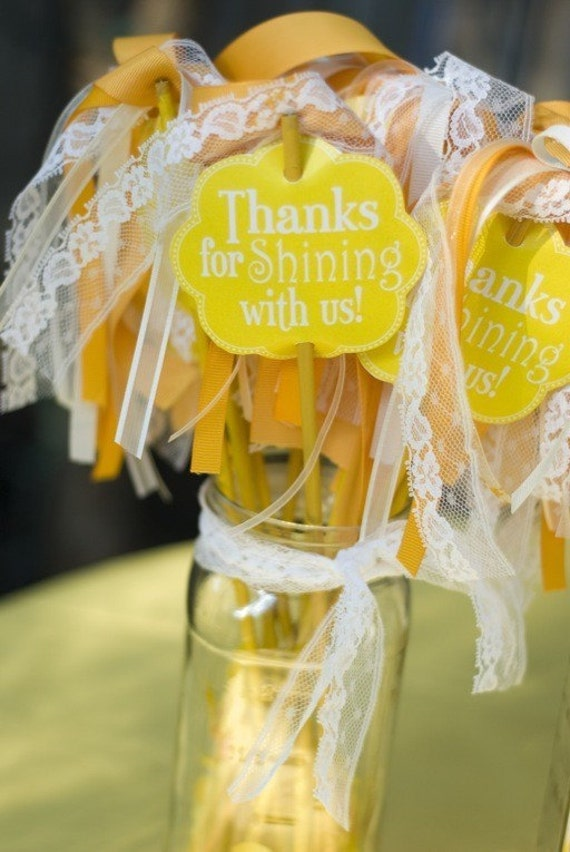 Yellow Sunshine Printable Party Favor Tags Instant Download