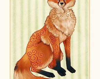 Fox Vixen Celtic Swirl Ar Print