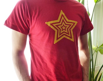 SALE - Gold Yellow Star Red T-Shirt Mens Unisex
