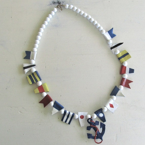 Handpainted Nautical Vintage Necklace | leather and wood beads | Anchor Flags