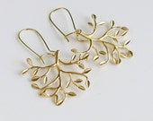 Tree Earrings, gold tree of life, leafy branch charm drop, delicate kidney dangle, holidays gift jewelry, by balance9