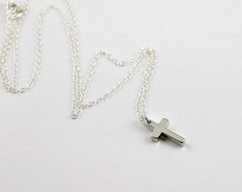 Silver Cross Necklace, sterling cross necklace, dainty small charm pendant, everyday jewelry, holidays gift, by balance9