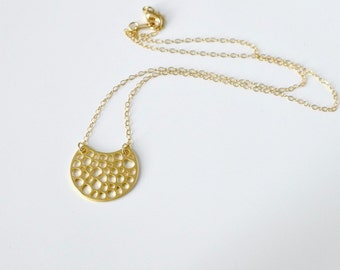 Crescent Moon Necklace, gold bubble moon charm pendant, 14k gold filled chain, delicate everyday jewelry, balance9