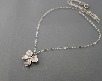 Silver necklace, Azalea flower charm pendant, Sterling chain, delicate bridesmaids wedding jewelry, everyday, christmas gift, by balance9